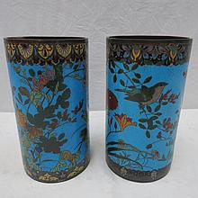 A matched pair of mid 19thC cloisonne brush pots