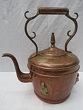 A large Victorian copper and brass kettle, 39cm
