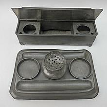 A 19thC pewter desk box with hinged lids together