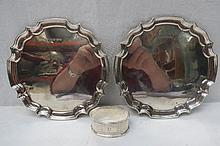 A pair of circular waiters of ogee piecrust form,
