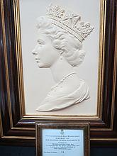 A Royal Worcester bas-relief portrait bust of Her