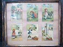 A framed group of six nursery cards telling Red