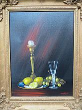 Jay Ward, Still Life of a Candlestick, Wine Glass