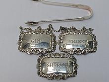 Three silver bottle labels, Birmingham 1970,