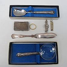 A silver brooch, Birmingham 1902 with three blue