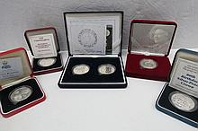 A small collection of silver proof crowns 1990,