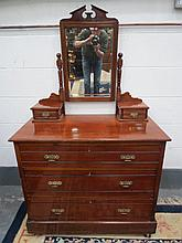 An Edwardian dressing chest, single mirror with
