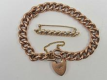 Hollow link 9ct rose gold curb link bracelet with