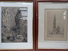 Two framed 19thC continental engravings 40x27cm.
