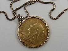 1897 half sovereign in diamond cut mount 9ct