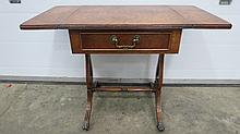 A George III style burr walnut drop leaf table,
