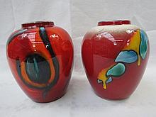 A Poole Pottery ginger jar style vase, with orange