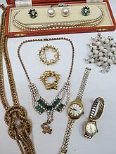 A quantity of costume jewellery, necklets,
