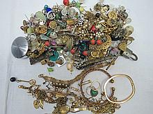 A quantity of yellow metal costume jewellery