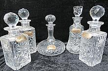 A cut glass 'ships' decanter 25cm high, with a