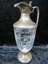 An HM silver mounted neo-classical claret jug with