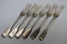 Six HM silver fiddle pattern dessert forks, marked