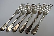 Six HM silver fiddle pattern table forks, marked