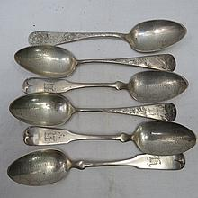 Six sterling silver dessert spoons of three