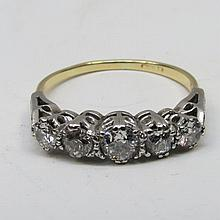 A graduated five stone half hoop diamond ring, the