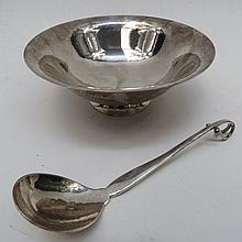 A Georg Jensen preserve dish and spoon. The