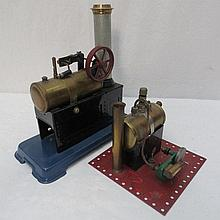 Two scale model live steam stationary engines, one