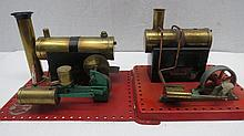 Two live steam scale model stationary engines, one