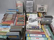 Two trays of VHS videos on steam trains, ships,
