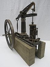 A scale model live steam beam engine measuring 38