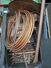 A box containing a quantity of copper tubing.