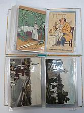 Two small albums of early scenic, greetings, comic