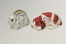Two Royal Crown Derby paperweights - puppy and