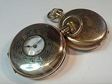 A Gents gold plated half hunter pocket watch by