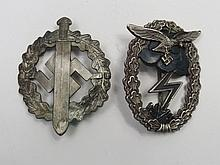 A Nazi Luftwaffe ground combat badge, eagle and