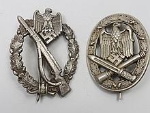 A Nazi Infantry badge, pierced with an eagle above