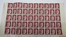 A full sheet of Adolf Hitler stamps, 15pf.