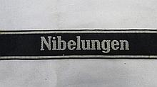A WWII German cuff title, SS Nibelungen, silver on