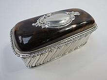 A smart HM silver and tortoiseshell trinket box