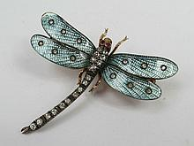 A dragonfly brooch, body and thorax set with old