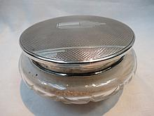 An HM silver mirror lidded art deco talcum powder