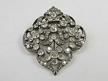 An old cut diamond floral brooch, three 6 stone
