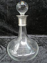 An HM silver collared 'ships' decanter being a