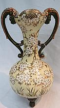 A late 19thC Japanese large twin handled vase