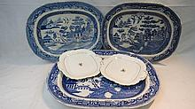 A large 19thC. blue & white printed ashette, the