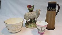 Staffordshire sheep mantelpiece ornaments, present