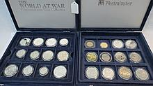 A collection of silver proof coins both UK and US