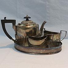A silver three pieces bachelors tea service,
