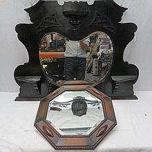 An ebonised mirror back overmantel and a 1920's