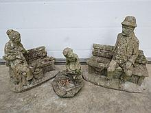 Three precast concrete garden figurines.