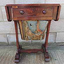 A Victorian mahogany drop leaf work table, plain